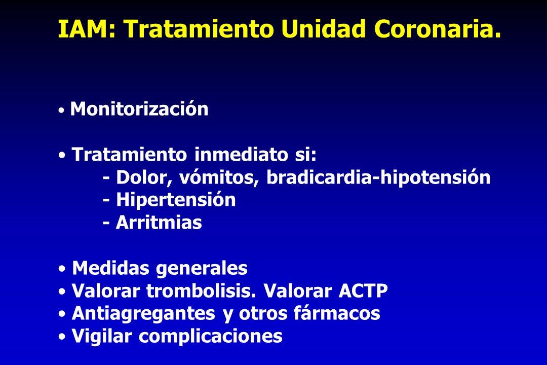 IAM: Tratamiento Unidad Coronaria.