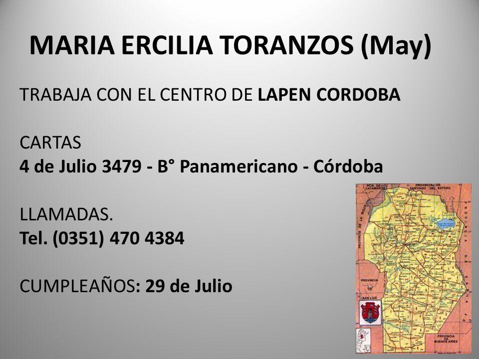 MARIA ERCILIA TORANZOS (May)