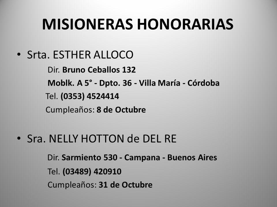 MISIONERAS HONORARIAS