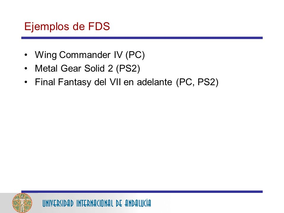 Ejemplos de FDS Wing Commander IV (PC) Metal Gear Solid 2 (PS2)