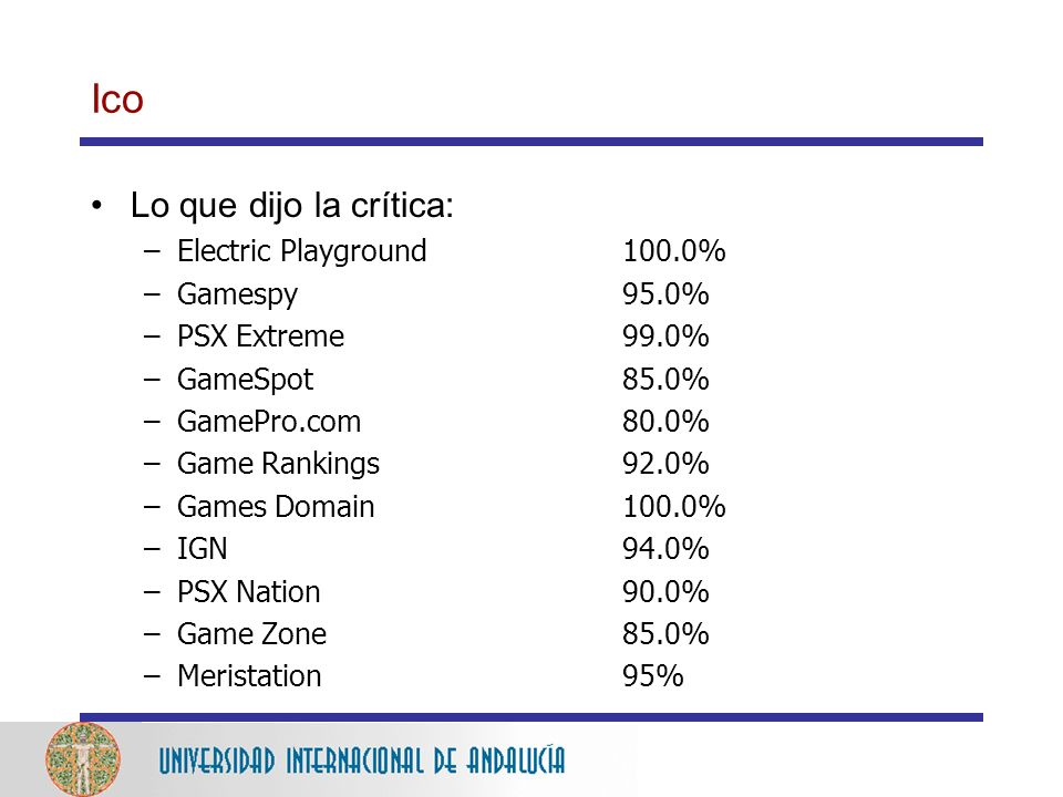 Ico Lo que dijo la crítica: Electric Playground 100.0% Gamespy 95.0%