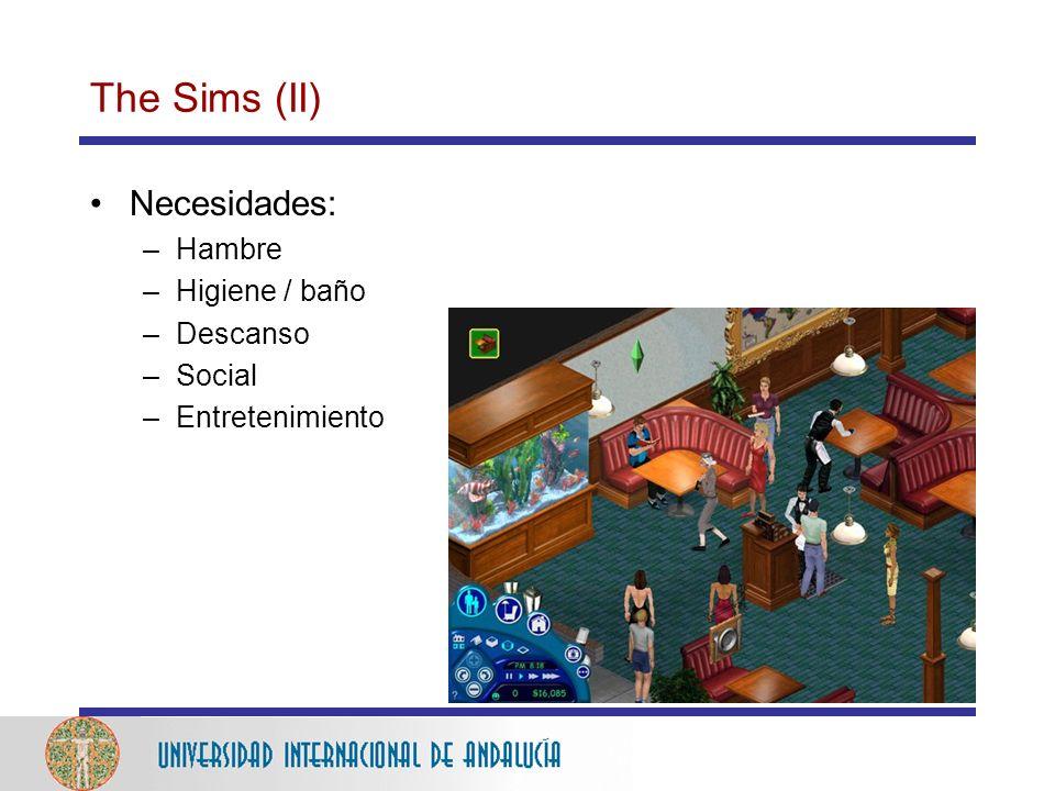The Sims (II) Necesidades: Hambre Higiene / baño Descanso Social