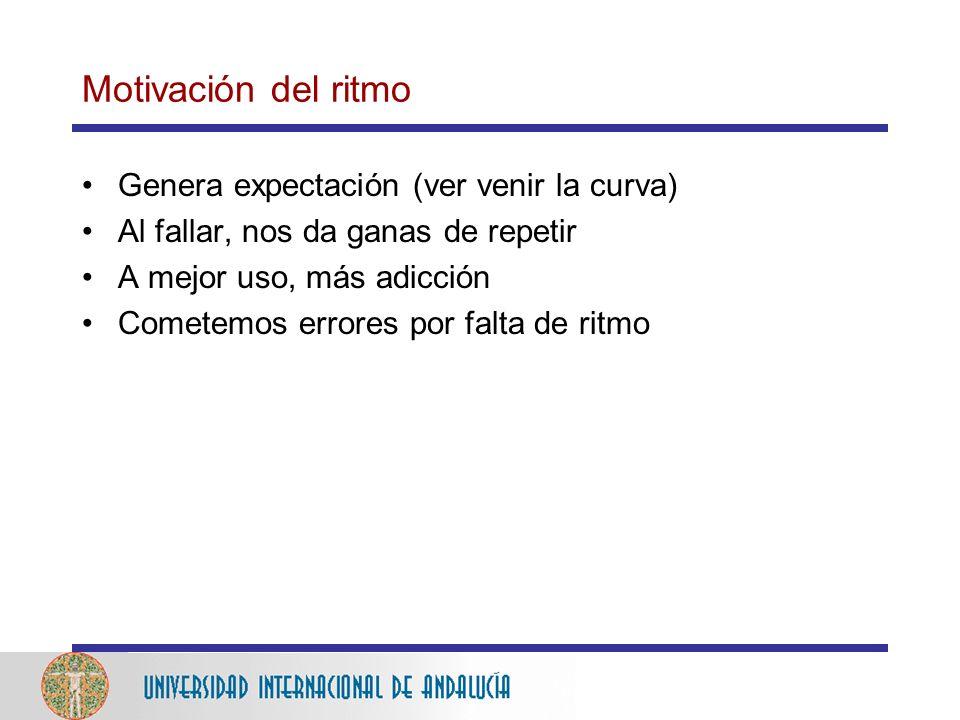 Motivación del ritmo Genera expectación (ver venir la curva)