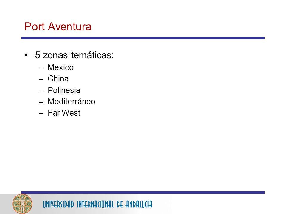 Port Aventura 5 zonas temáticas: México China Polinesia Mediterráneo