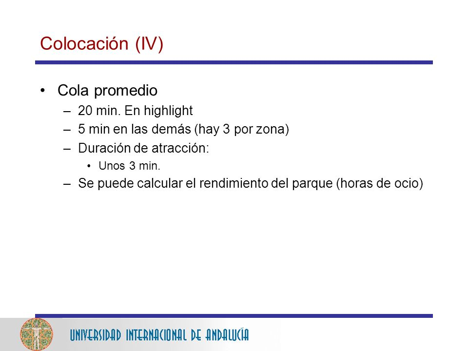 Colocación (IV) Cola promedio 20 min. En highlight