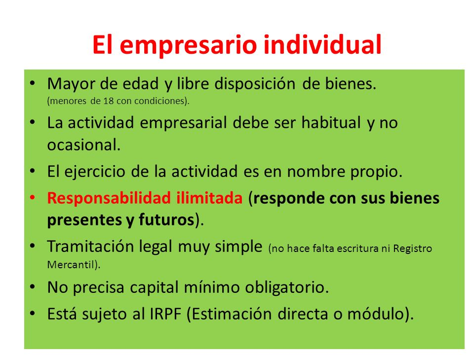 El empresario individual