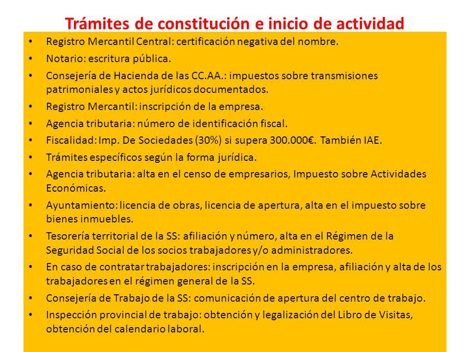 Trámites de constitución e inicio de actividad