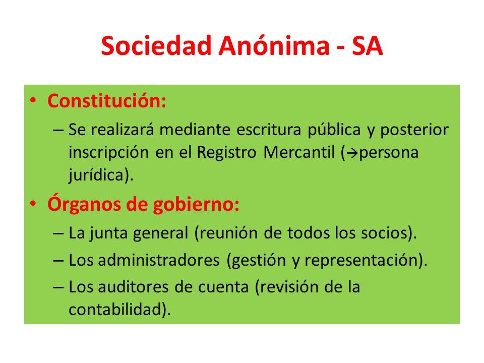 Sociedad Anónima - SA Constitución: Órganos de gobierno: