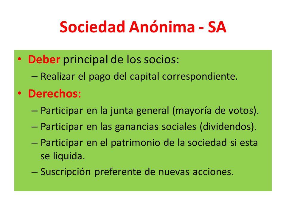 Sociedad Anónima - SA Deber principal de los socios: Derechos: