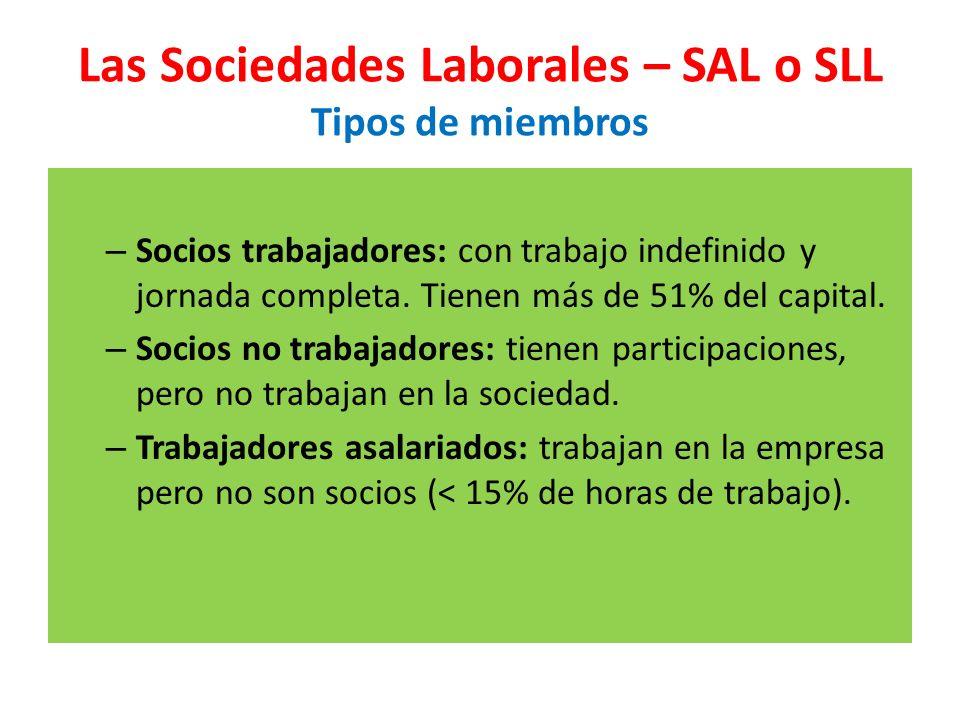Las Sociedades Laborales – SAL o SLL Tipos de miembros