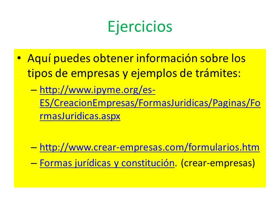Ejercicios Aquí puedes obtener información sobre los tipos de empresas y ejemplos de trámites: