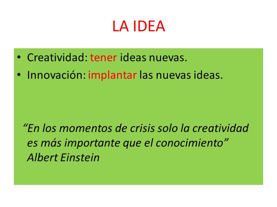 LA IDEA Creatividad: tener ideas nuevas.