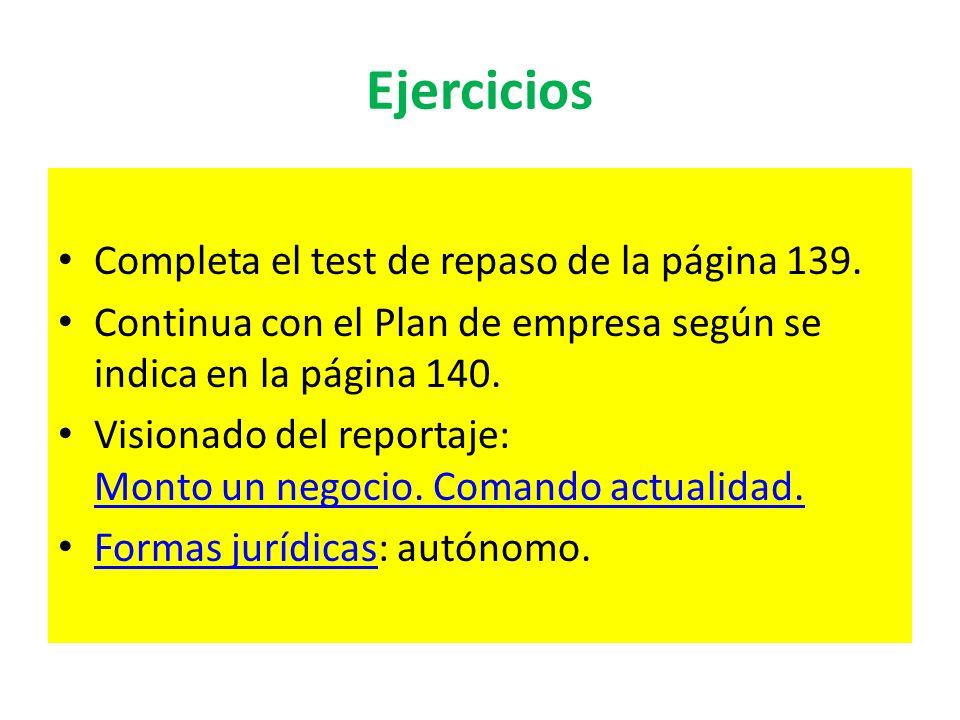 Ejercicios Completa el test de repaso de la página 139.