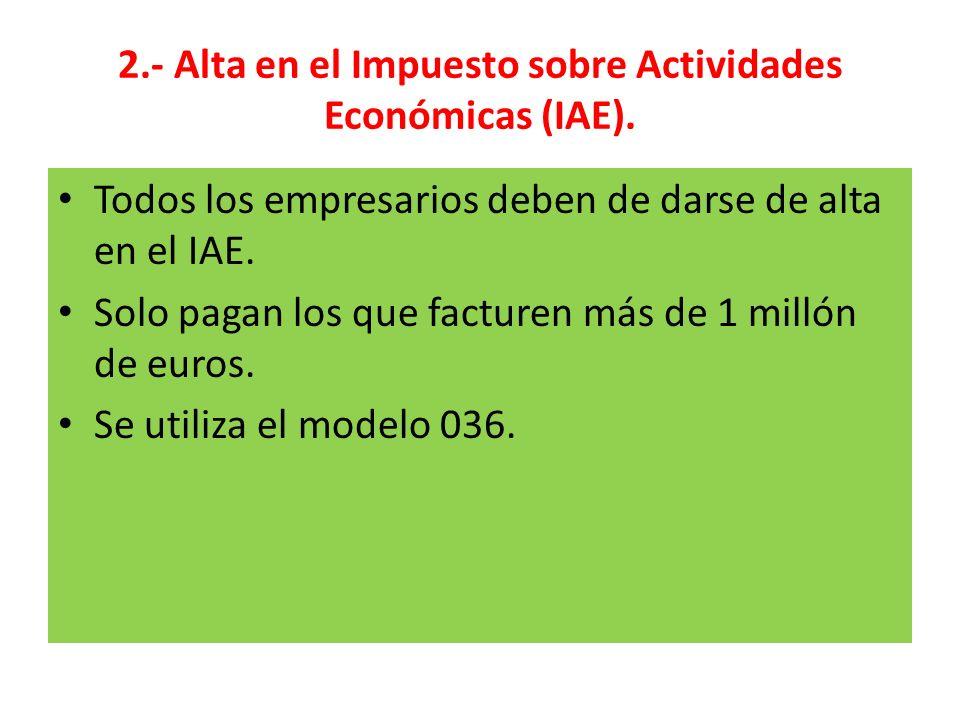 2.- Alta en el Impuesto sobre Actividades Económicas (IAE).