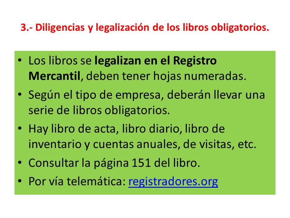 3.- Diligencias y legalización de los libros obligatorios.