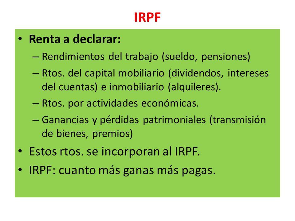 IRPF Renta a declarar: Estos rtos. se incorporan al IRPF.