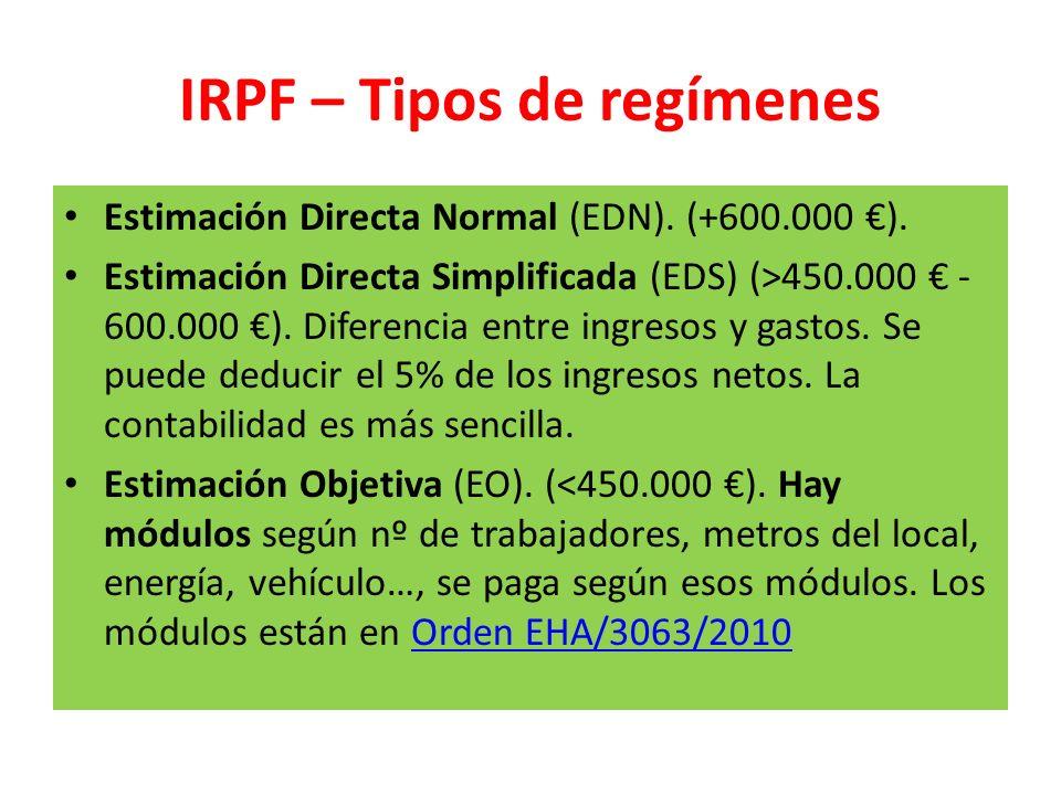 IRPF – Tipos de regímenes