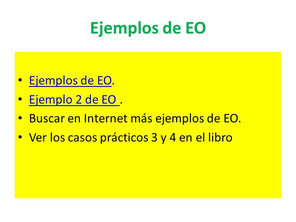 Ejemplos de EO Ejemplos de EO. Ejemplo 2 de EO .