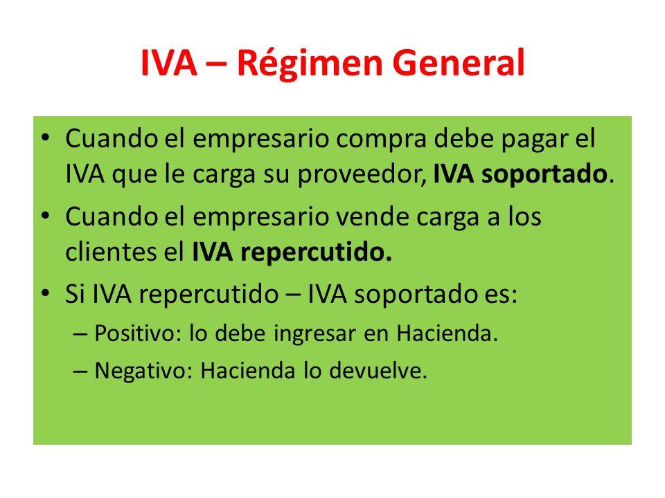IVA – Régimen General Cuando el empresario compra debe pagar el IVA que le carga su proveedor, IVA soportado.