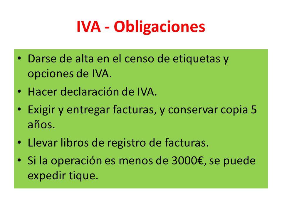 IVA - Obligaciones Darse de alta en el censo de etiquetas y opciones de IVA. Hacer declaración de IVA.