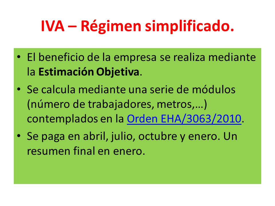 IVA – Régimen simplificado.