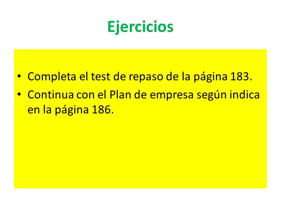 Ejercicios Completa el test de repaso de la página 183.
