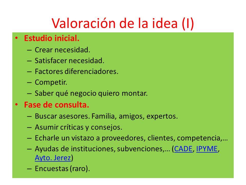 Valoración de la idea (I)