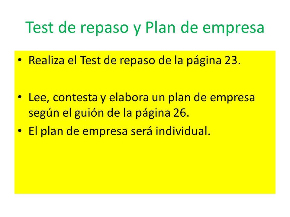 Test de repaso y Plan de empresa