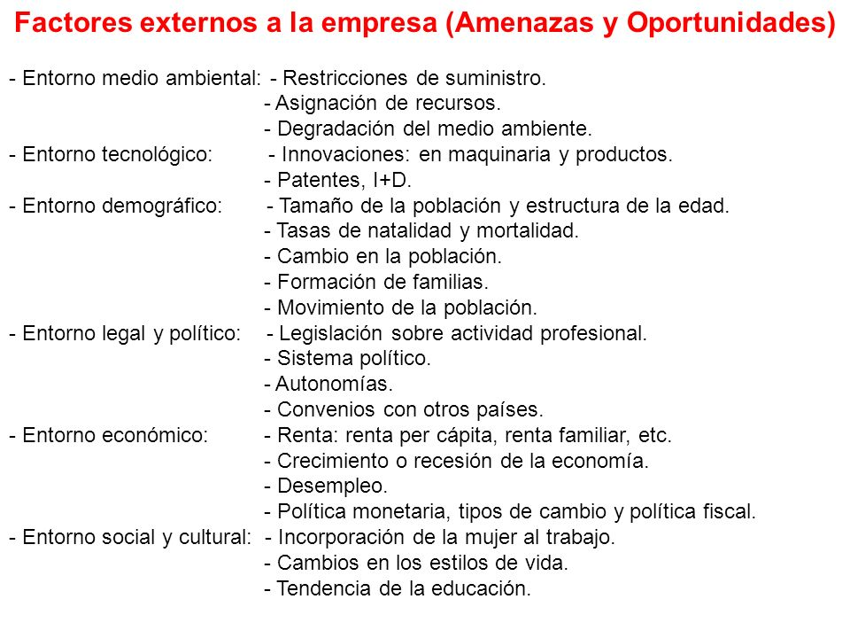 Factores externos a la empresa (Amenazas y Oportunidades)