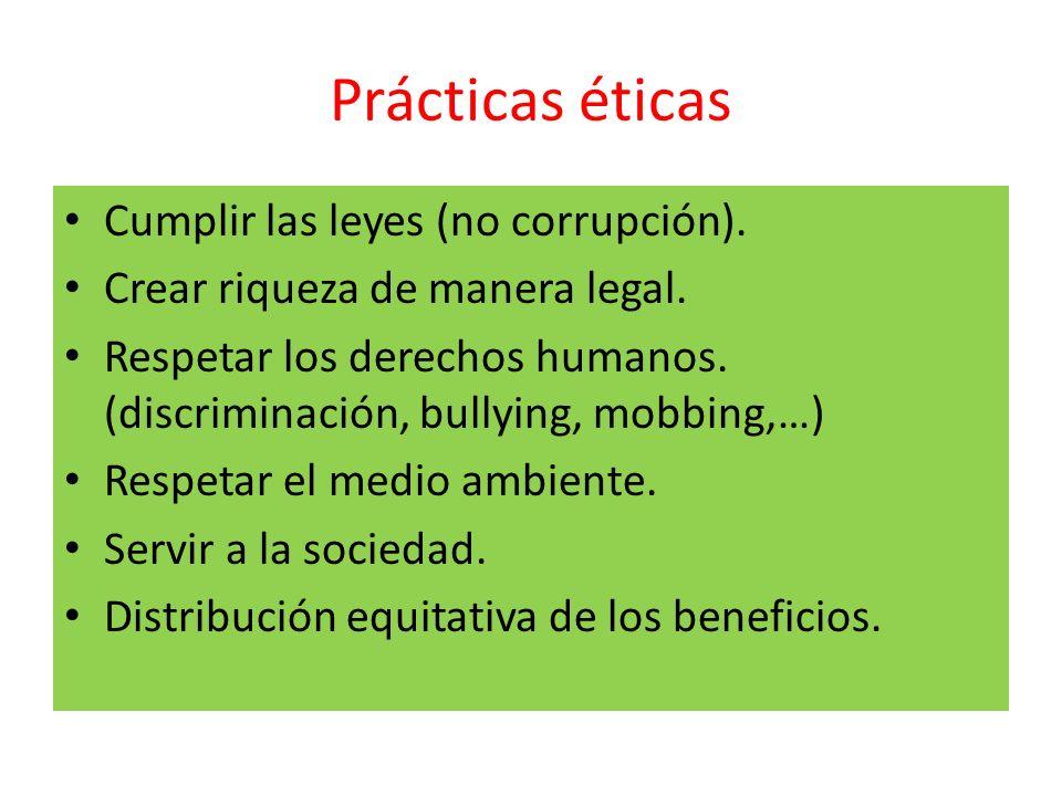 Prácticas éticas Cumplir las leyes (no corrupción).