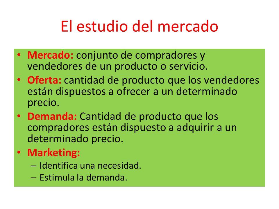 El estudio del mercado Mercado: conjunto de compradores y vendedores de un producto o servicio.
