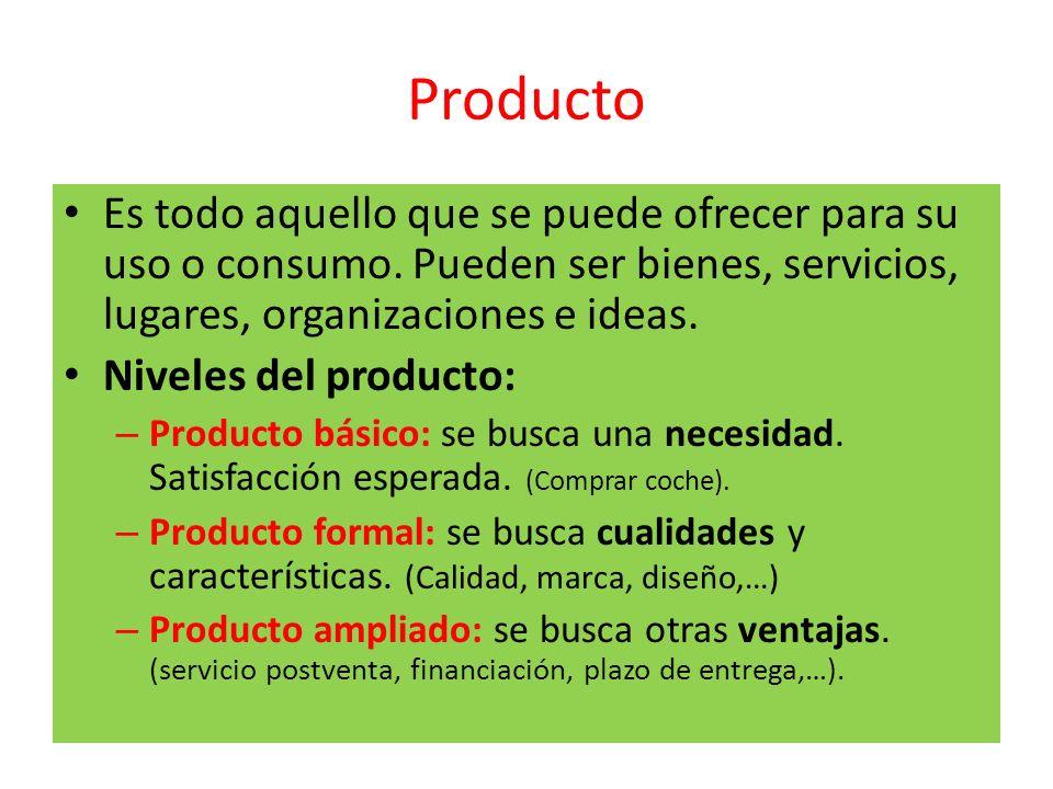 Producto Es todo aquello que se puede ofrecer para su uso o consumo. Pueden ser bienes, servicios, lugares, organizaciones e ideas.