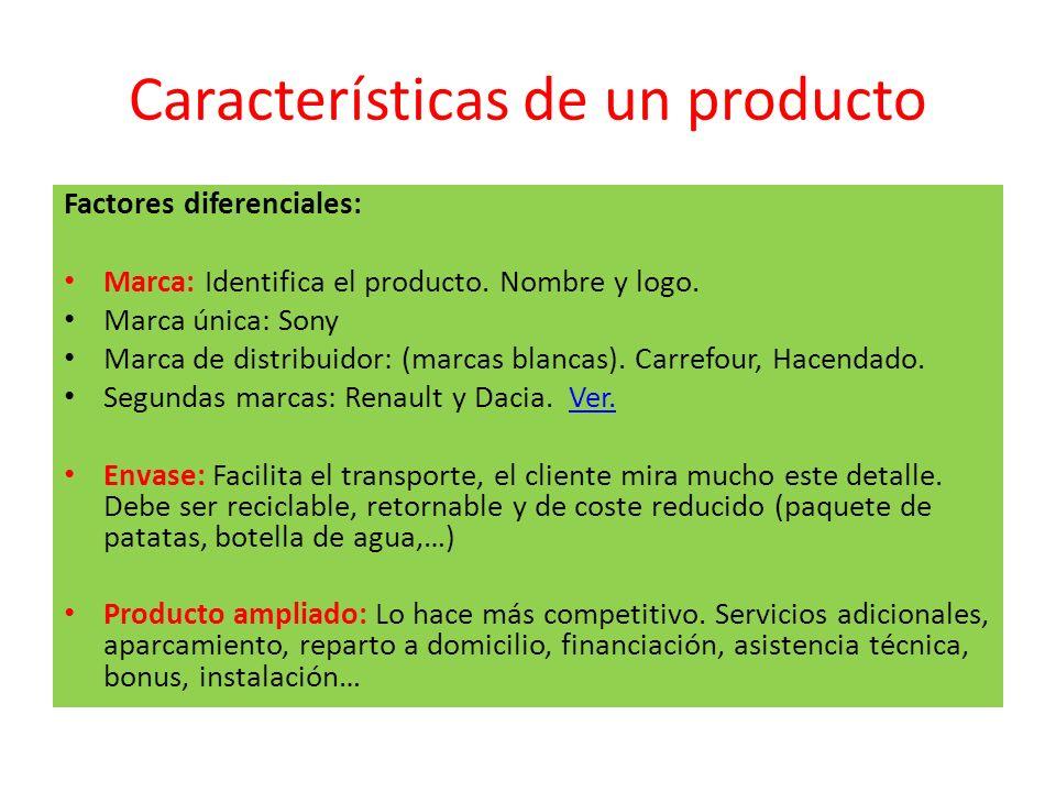 Características de un producto