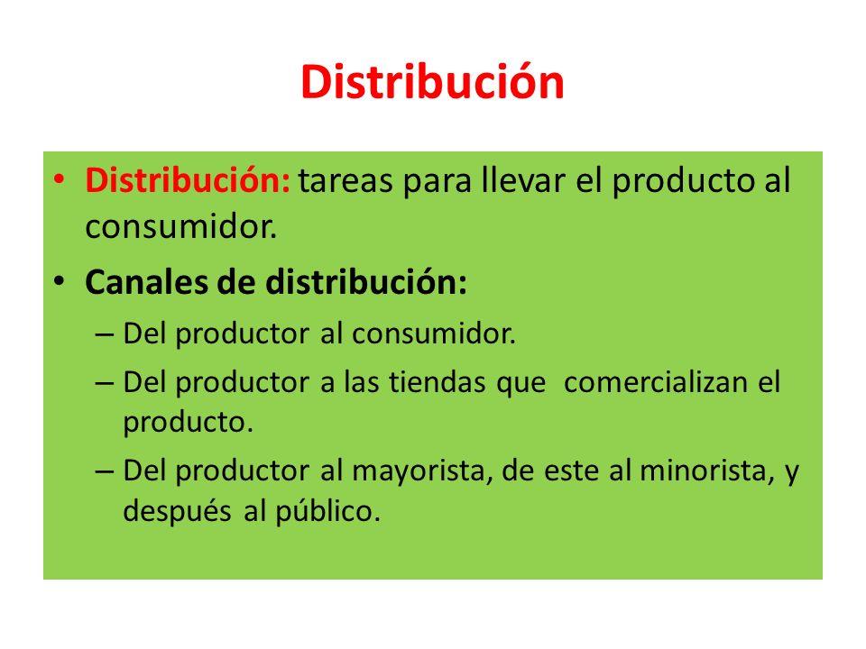 Distribución Distribución: tareas para llevar el producto al consumidor. Canales de distribución: Del productor al consumidor.