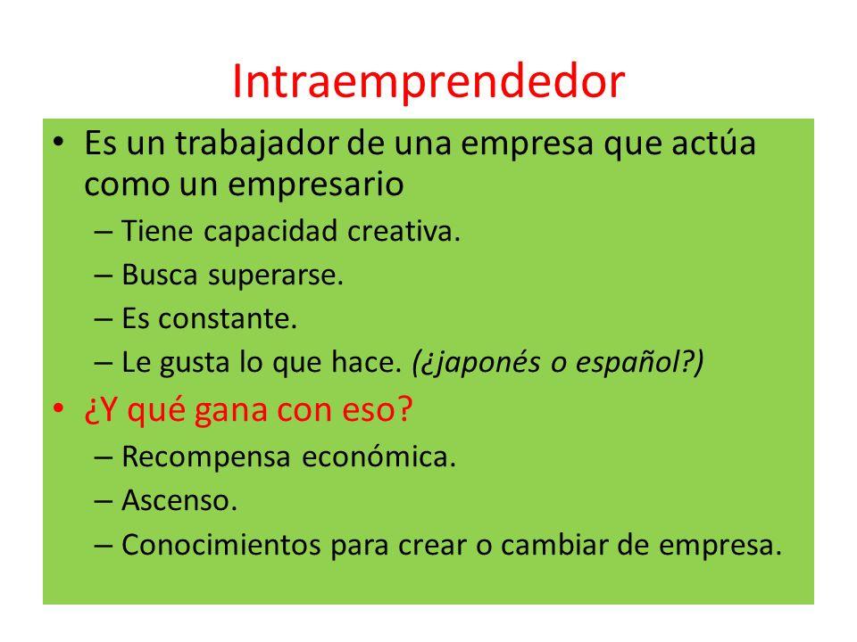 Intraemprendedor Es un trabajador de una empresa que actúa como un empresario. Tiene capacidad creativa.