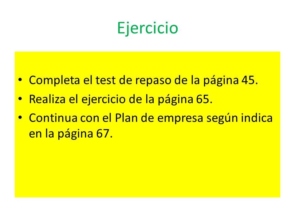 Ejercicio Completa el test de repaso de la página 45.
