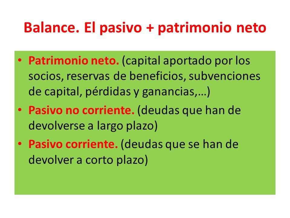 Balance. El pasivo + patrimonio neto
