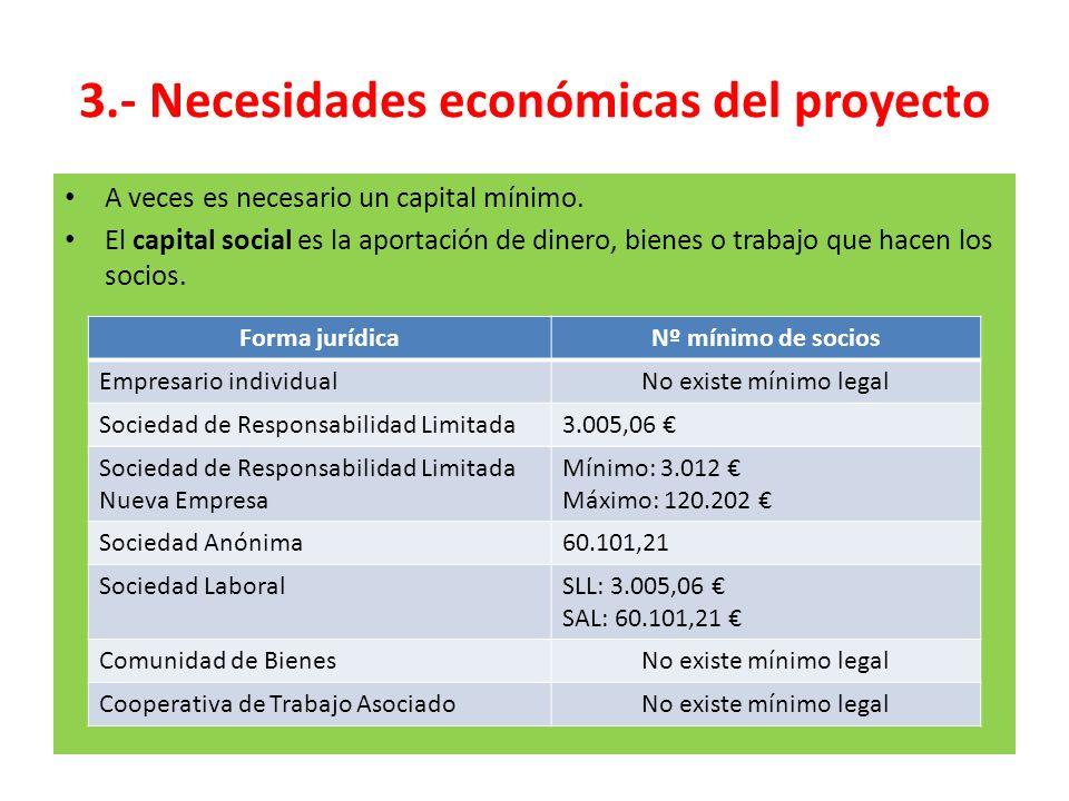 3.- Necesidades económicas del proyecto