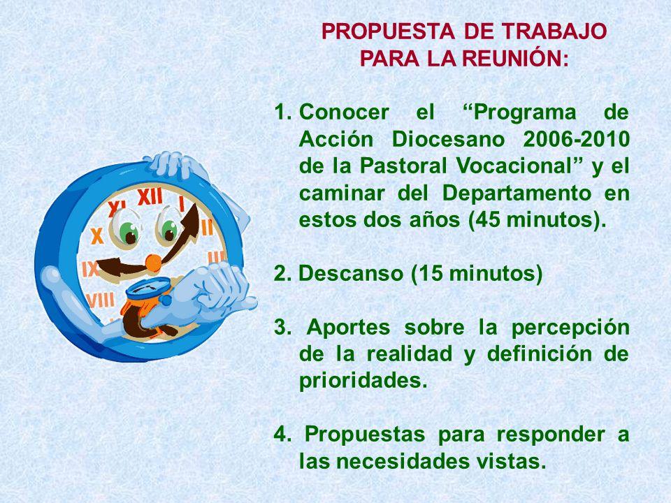 PROPUESTA DE TRABAJO PARA LA REUNIÓN: