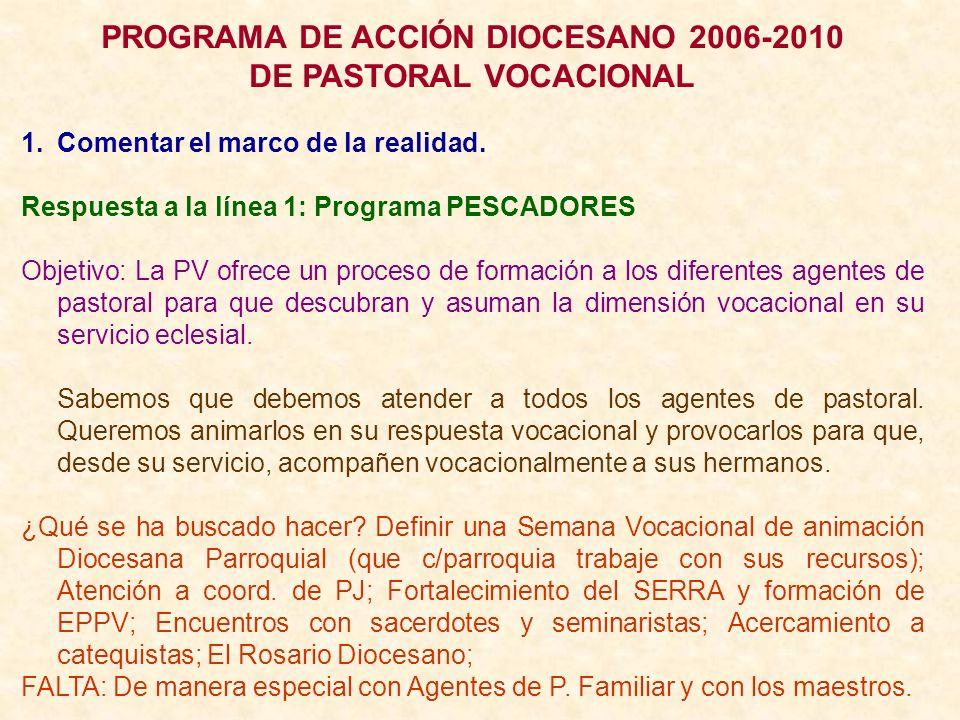 PROGRAMA DE ACCIÓN DIOCESANO 2006-2010 DE PASTORAL VOCACIONAL