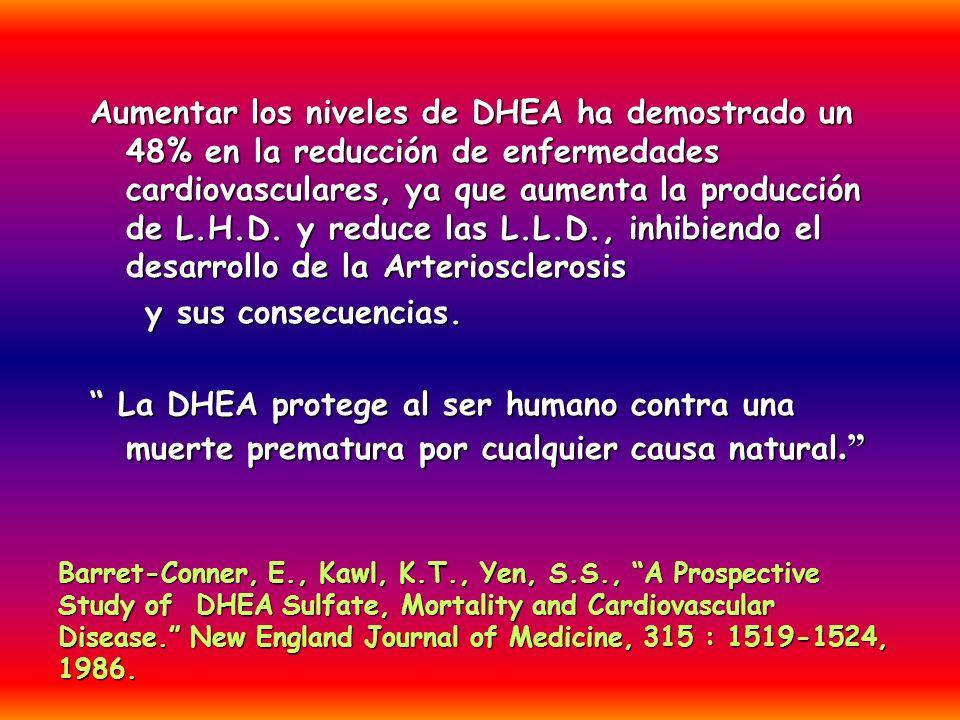 Aumentar los niveles de DHEA ha demostrado un 48% en la reducción de enfermedades cardiovasculares, ya que aumenta la producción de L.H.D. y reduce las L.L.D., inhibiendo el desarrollo de la Arteriosclerosis