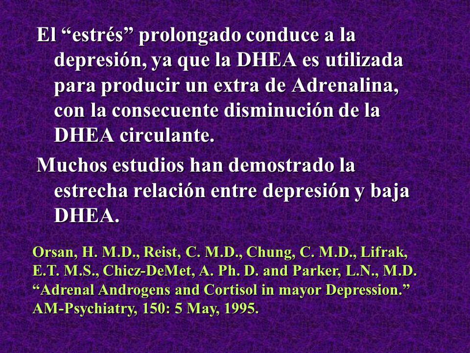 El estrés prolongado conduce a la depresión, ya que la DHEA es utilizada para producir un extra de Adrenalina, con la consecuente disminución de la DHEA circulante.