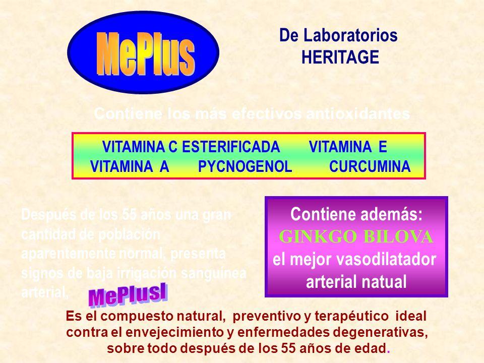 MePlus De Laboratorios HERITAGE Contiene además: GINKGO BILOVA