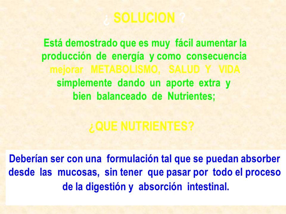 ¿ SOLUCION ¿QUE NUTRIENTES