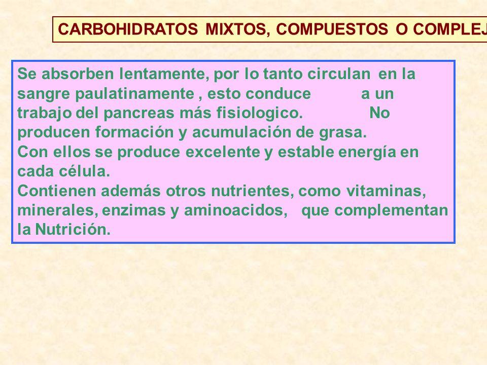 CARBOHIDRATOS MIXTOS, COMPUESTOS O COMPLEJOS