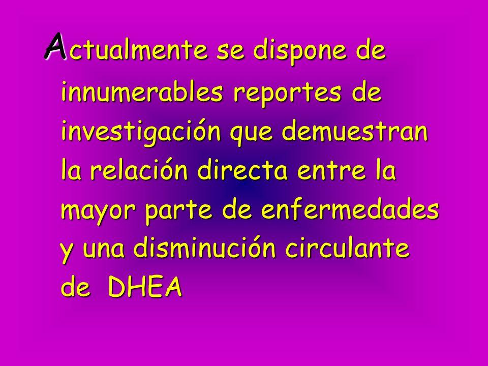 Actualmente se dispone de innumerables reportes de investigación que demuestran la relación directa entre la mayor parte de enfermedades y una disminución circulante de DHEA