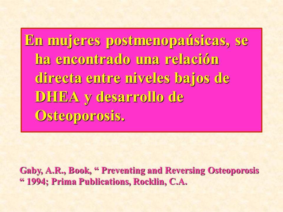 En mujeres postmenopaúsicas, se ha encontrado una relación directa entre niveles bajos de DHEA y desarrollo de Osteoporosis.