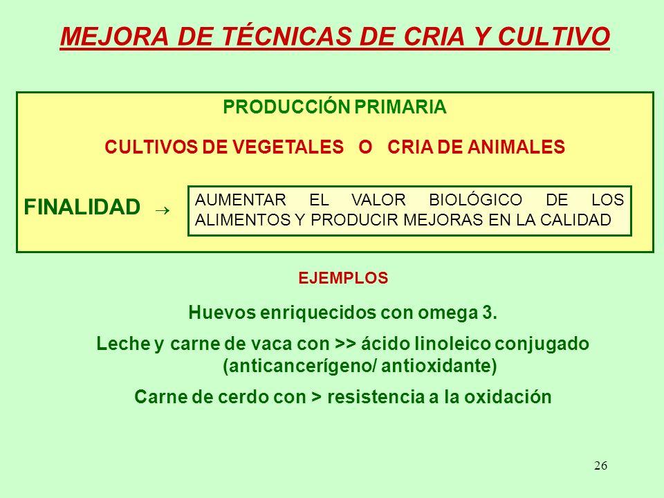MEJORA DE TÉCNICAS DE CRIA Y CULTIVO