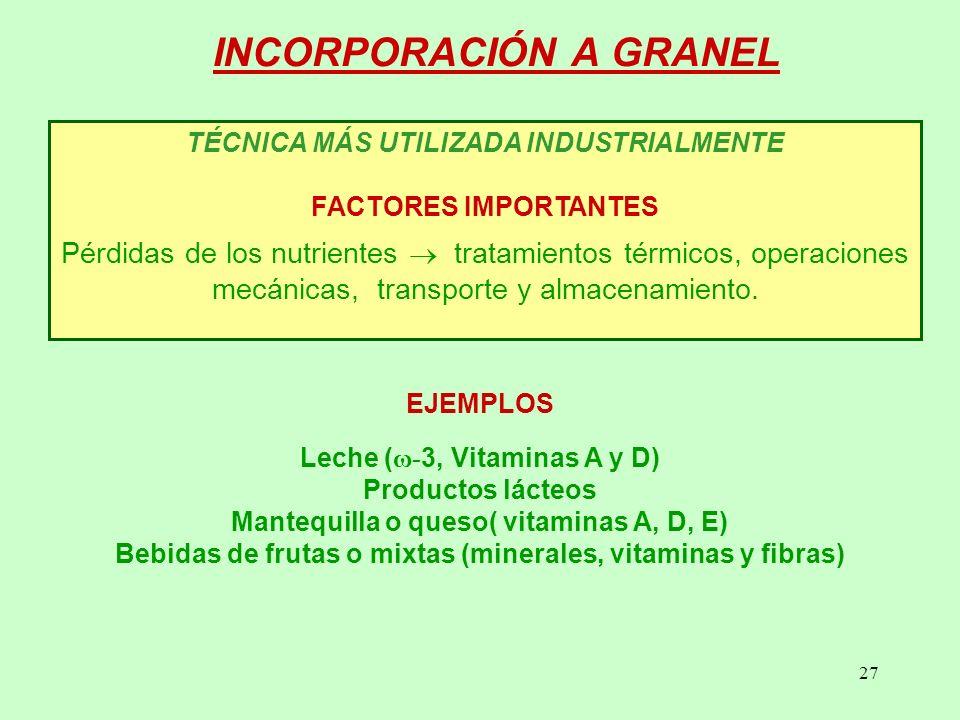 INCORPORACIÓN A GRANEL