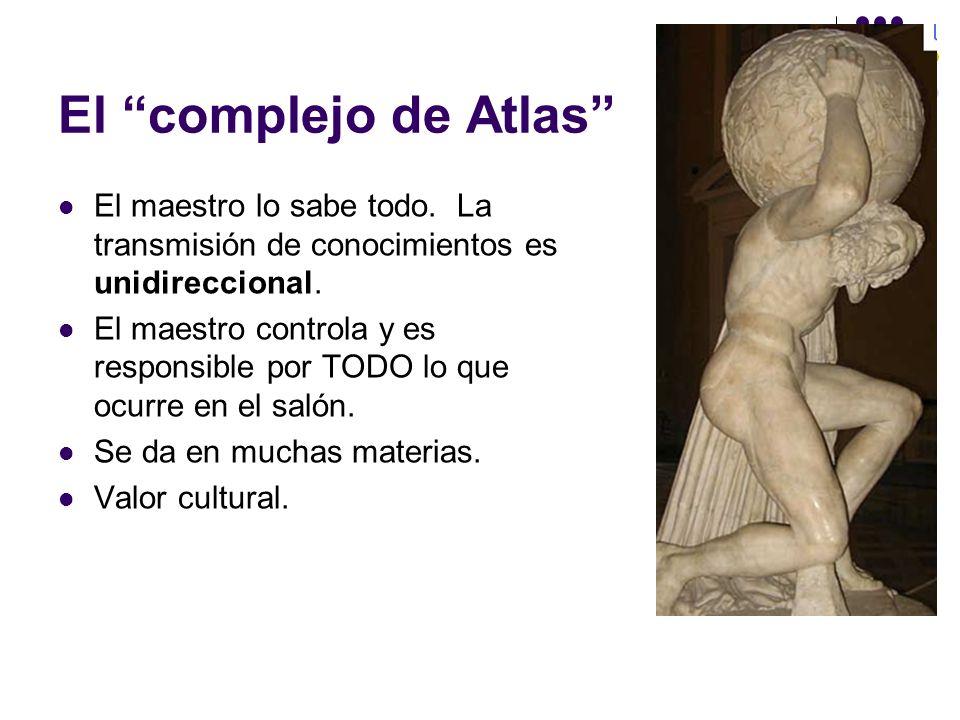 El complejo de Atlas El maestro lo sabe todo. La transmisión de conocimientos es unidireccional.